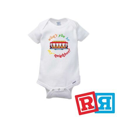 895bafa4 Mr. Rogers Baby Onesie Neighborhood Trolley Bodysuit Gerber Organic Cotton