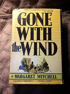 GONE WITH THE WIND, MARGARET MITCHELL, HC, DJ, 1st ed, 14th printing, Sept 1936
