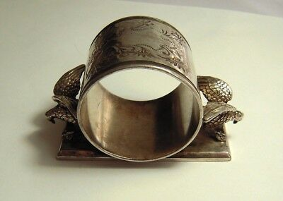 VICTORIAN FIGURAL SILVER PLATED NAPKIN RING SPREAD EAGLE MIDDLETOWN 1800'S birds