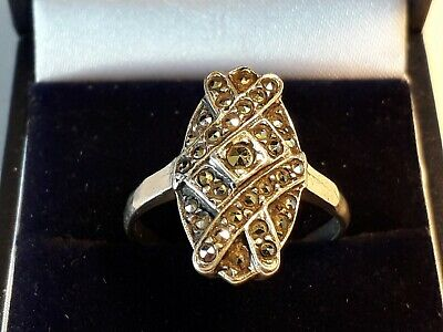 Antique art deco  solid silver marcasites  ring.. size S..superb.