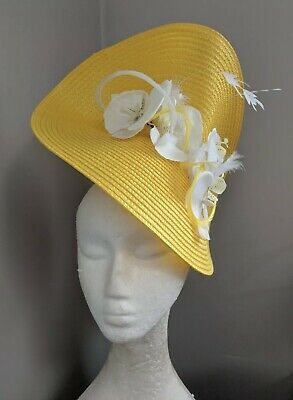 Yellow And White Woven Straw Fascinator,Races Weddings