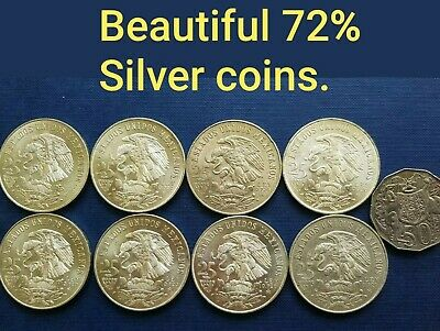 Silver Mexico 1968 Olympics 25 Peso coins @ .720 Silver. Genuine uncleaned nice!