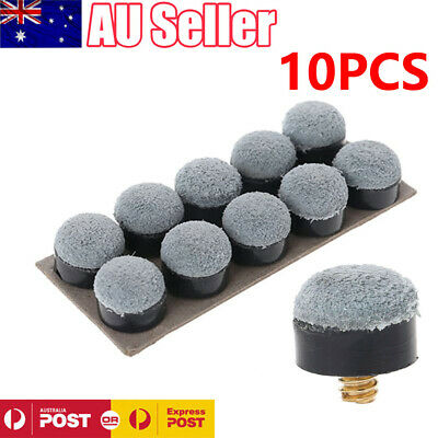 10 x Commercial Quality Soft Pool Snooker Billiards CUE TIPS Screw On type 10mm