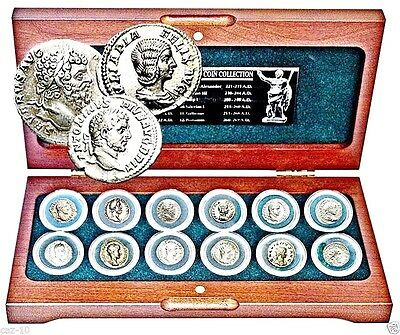 Roman Empire,12 Emperors Silver Coin Collection In Beautiful  Presentation Box