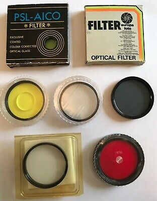 7 x Vintage 62mm-77mm Camera Lens Filters, Various Size Make & Colours, See List