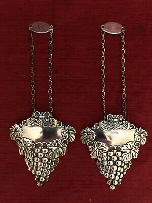 Set of Two Vintage Sterling Bottle Tags by Da Milano Not Engraved with Grapes