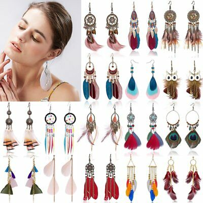 Retro Boho Tassel Feather Long Bohemia Earrings Dangle Hook Owl Leaf Bride Party