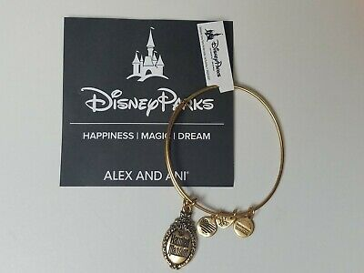 Disney Parks Exclusive Alex & Ani The Haunted Mansion Logo Bangle Bracelet Gold