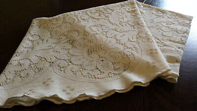 """Large vintage round cotton polyester cream lace tablecloth - 70"""" diameter"""