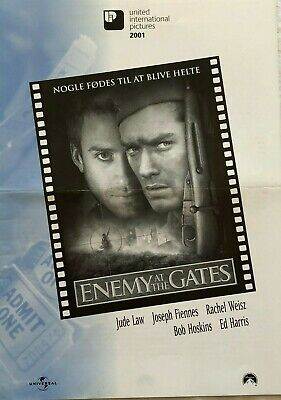 Enemy At The Gates Jude Law Ed Harris 2001 Vtg Old Danish Movie Press Release