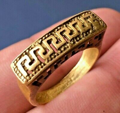 Amazing EXTREMELY Ancient VIKING BRONZE RING museum quality Decorated Rare Type