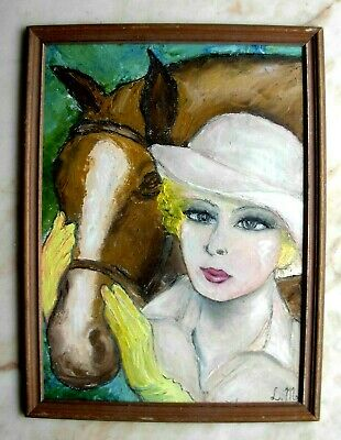 TABLEAU  HUILE  SIGNEE french impressionisme painting oil horse chevale lady