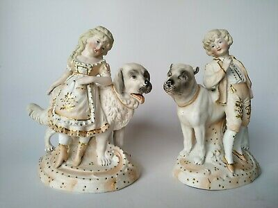 Antique French Victorian Bisque Porcelain Figural Vases Children and Dogs