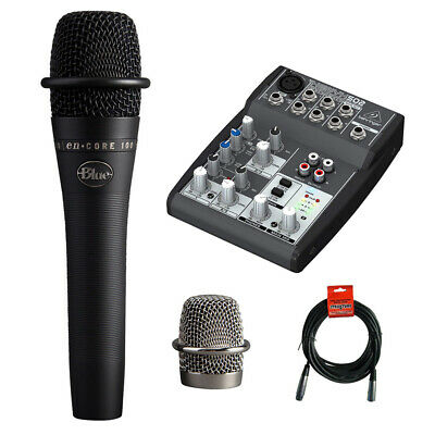 Blue enCORE 100 Dynamic Handheld Microphone w/ Behringer XENYX Mixer & Cable