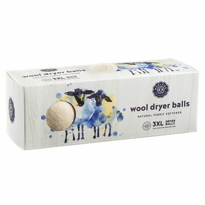 3-Pack Woolzies Reusable Wool XL Dryer Balls Natural Fabric Softener Drying Ball