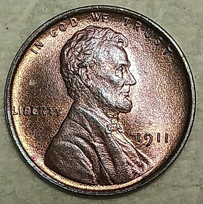 Gem Uncirculated 1911-P Lincoln Cent! Beautifully toned specimen!