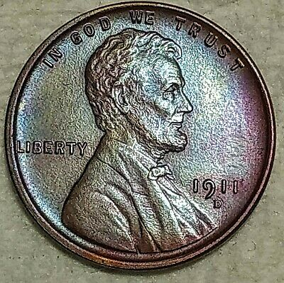 Brilliant Uncirculated 1911-D Lincoln Cent! Beautifully toned specimen!