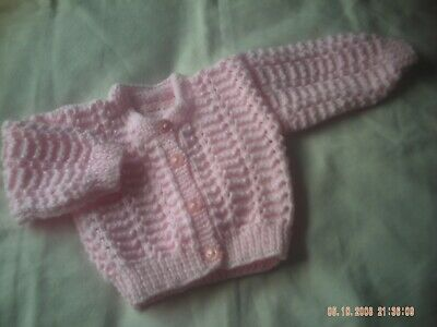 Hand Knitted Baby Girl's Pink Cardigan Size 3-6 Months.