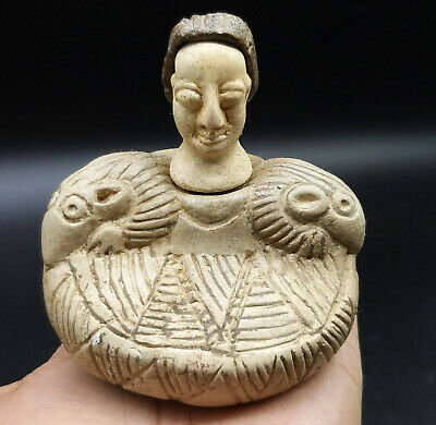 Very Old Bactrain Cream Stone Two Deers On Shoulder Antique Male Figure Idol