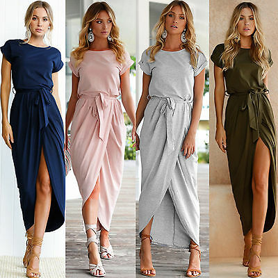 Women Holiday Short Sleeve Split Long Maxi Dress Ladies Summer Sundress Size6-12