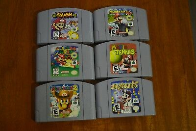 Lot of 6 Nintendo 64 Games Super Smash Bros Mario Kart Mario Party Dr Mario MORE