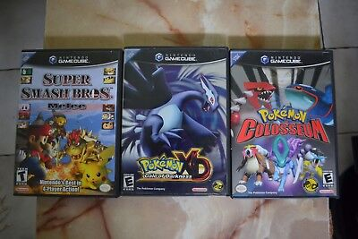 Nintendo Gamecube Games Super Smash Bros Melee Pokemon Colosseum & Pokemon XD