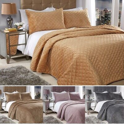 Quilted Plush Velvet Feel Cross Stitch Bedspread Throw Comforter + 2 PillowShams
