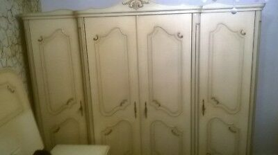 Vintage 4 door Shabby Chic French carved Louis style armoire,wardrobe,