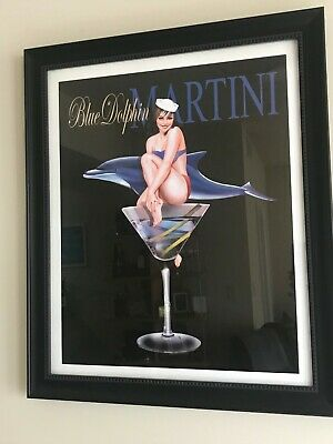 """FRAMED Blue Dolphin Martini by Ralph Burch 24.75"""" by 20.75"""" Art Print Sexy Drink"""