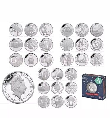 2018 Silver Proof,  A-Z Full Set Containing all 26 Royal Mint Coins