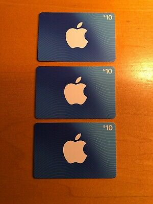$30 Apple App Store & iTunes Gift Cards - 3 NEW $10 Gift Cards-Opening Bid $10!
