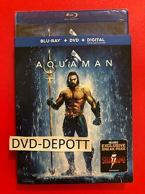 Aquaman 2019 Blu-Ray + DVD + Digital HD & Slipcover Brand New FAST Free Shipping