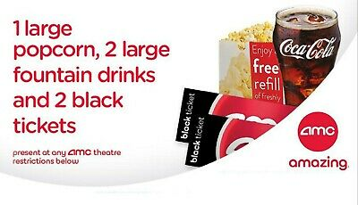 2 AMC Theater Black Tickets with 2 Large Drinks and 1 Large Popcorn