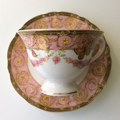 Grace's Teaware Pink White Porcelain Butterflies Coffee Tea Cup Saucer Gift Set