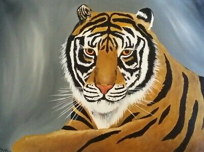 Male Tiger Original oil painting . Art on 12 x 16 canvas. By Northmix