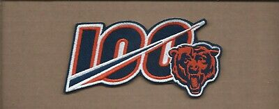 New 2 1/2 X 4 3/4 Inch Chicago Bears 100 Seasons Iron On Patch Free Shipping