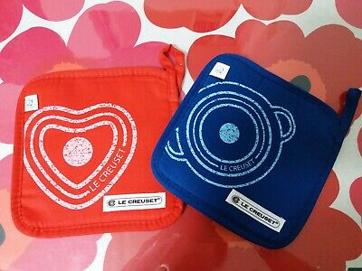 Lot of 2 Pieces Le Creuset Heat Insulation Pad / Potholder Red and Blue