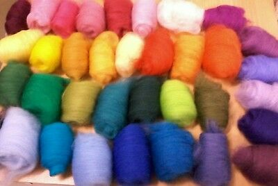 Wool Merino 'Woolly Delight' 180gm Pack dyed Tops Roving Spin Felt, knit