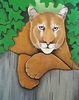 Male Cougar Original oil painting . Art on 12 x 16 canvas. By Northmix