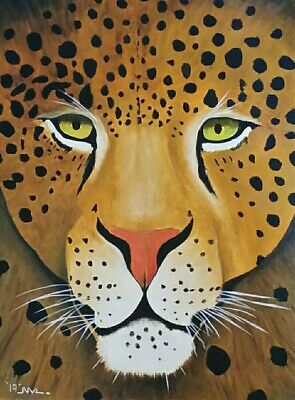 Male leopard  Original oil painting . Art on 12 x 16 canvas. By Northmix
