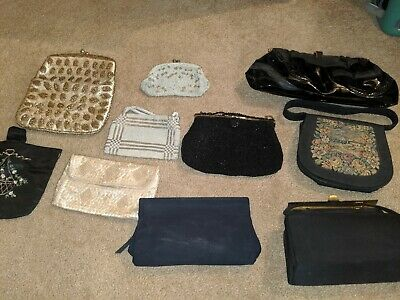 Lot of 10 Vintage Antique Purses Handbags