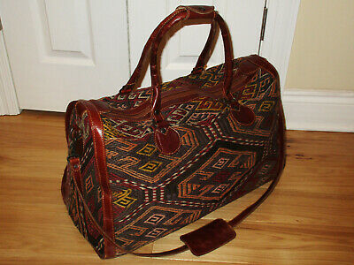 Fabulous Vintage Hand Crafted Woven Wool Leather Travel Bag, Weekend Duffel Exc
