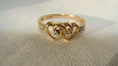 10K Solid Yellow Gold & Diamonds Twin Hearts Ring Signed GTR size 7 Not Scrap 2g