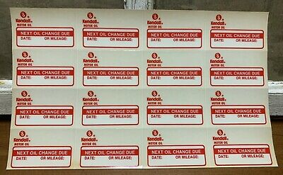 16 Vintage Kendall Motor Oil Static Cling Oil Change Sticker Reminder Original