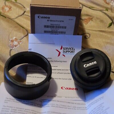 Canon EF 50mm f/1.8 STM Lens W/ Hood - Mint Condition -Canon Factory Refurbished