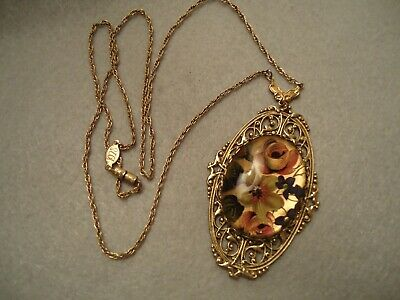 Company 1928 Art Deco Big Filigree Scroll Rose Flower Medallion Pendant Necklace