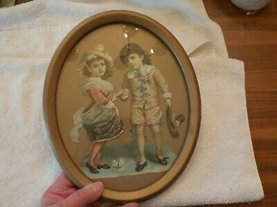 Vintage Framed Victorian Boy And Girl Doll Cut Out