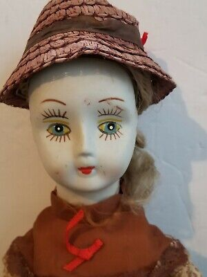 """VINTAGE CREEPY PORCELAIN DOLL HAND PAINTED ghostly white 20"""""""