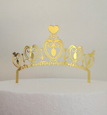 Happy Birthday Crown Gold Silver Rose Gold Party Cake Topper Flag Acrylic