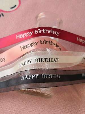 Printed Happy Birthday Silk / Voile Ribbon Flower Decoration Gift Wrapping Pink